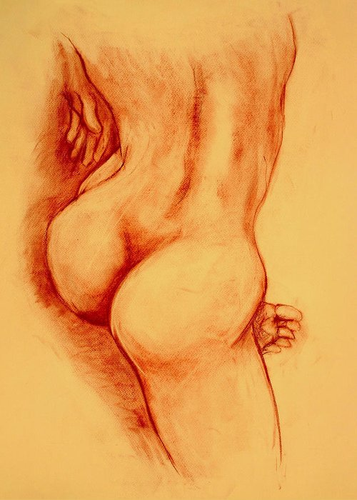 Nude Greeting Card featuring the painting Asana Nude by Dan Earle
