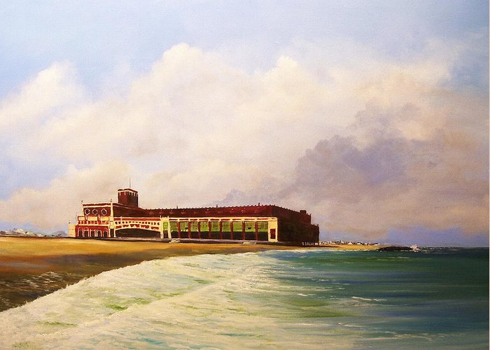 Asbury Park Greeting Card featuring the painting Asbury Park Convention Hall by Ken Ahlering