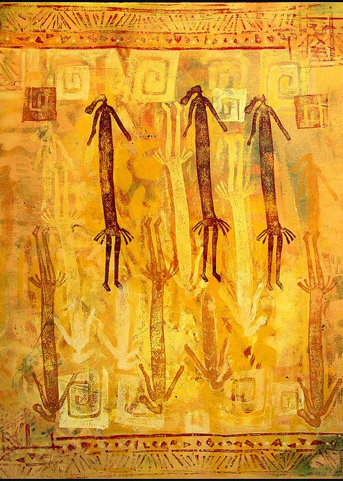Ethnic Greeting Card featuring the painting Ascendants And Descendants by Dale Witherow