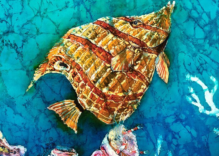 Beaked Butterflyfish Greeting Card featuring the painting Ascending by Sue Duda
