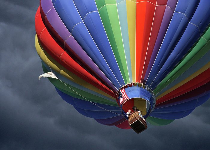 Balloon Greeting Card featuring the photograph Ascending To The Storm by Marie Leslie