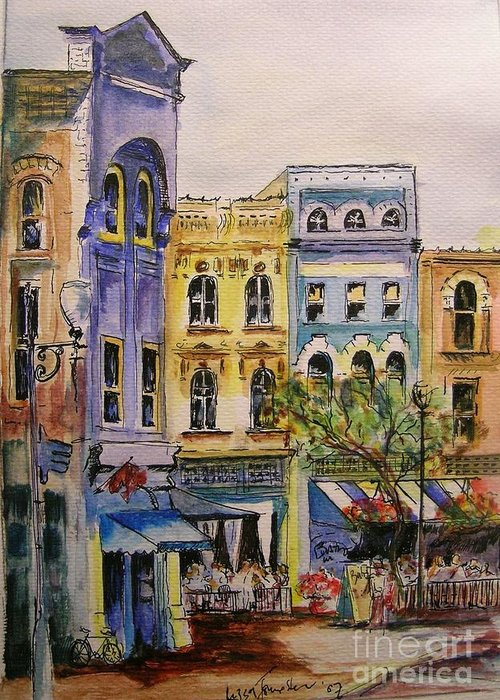 Townhouses Greeting Card featuring the painting Asheville by Lizzy Forrester