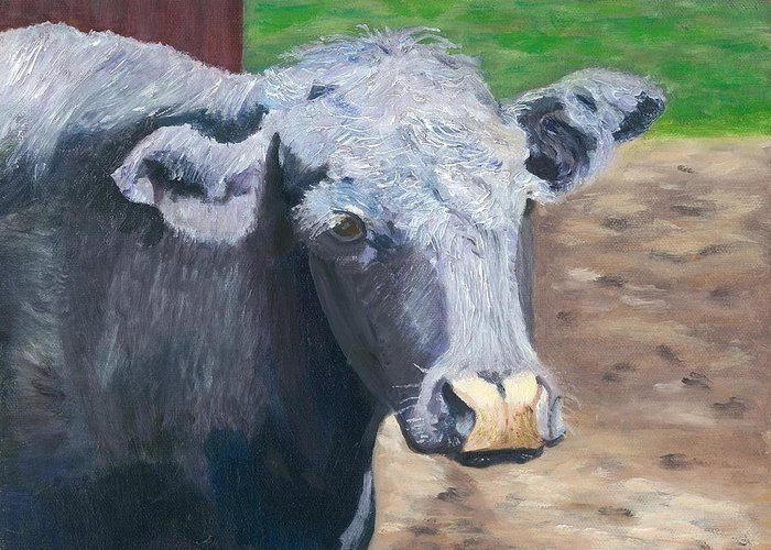 Bull Greeting Card featuring the painting Ashley by Paula Emery