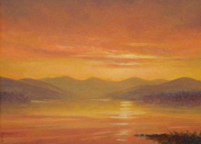 Landscape Greeting Card featuring the painting Ashokan Sunset by Barry DeBaun