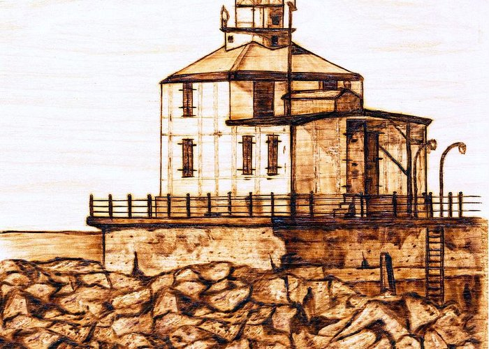 Lighthouse Greeting Card featuring the pyrography Ashtabula Harbor by Danette Smith