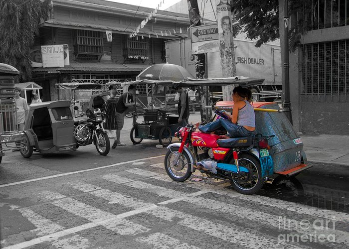 Asia Philippines Motorcycle Sidecar Taxi 6282086sc Greeting Card