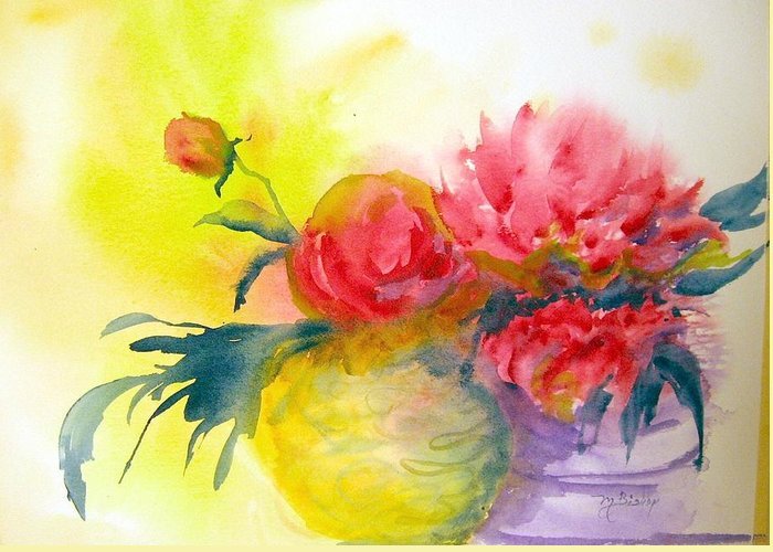 Peony Greeting Card featuring the painting Asian Peonies by Marilyn Bishop