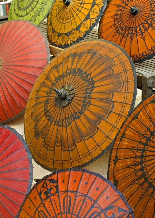 Oriental Greeting Card featuring the photograph Asian Umbrellas by Michele Burgess