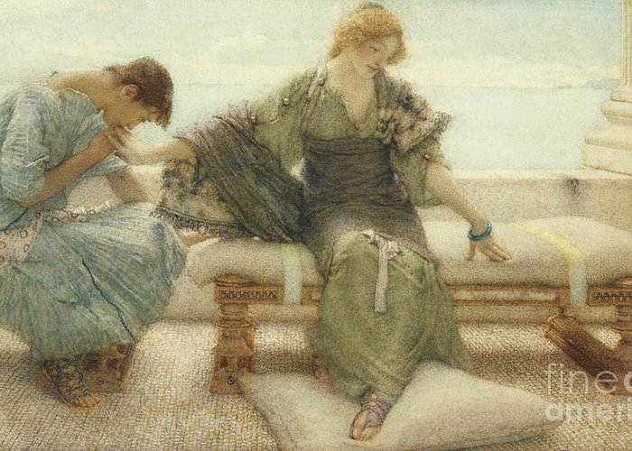 Ask Greeting Card featuring the painting Ask Me No More....for At A Touch I Yield by Sir Lawrence Alma-Tadema
