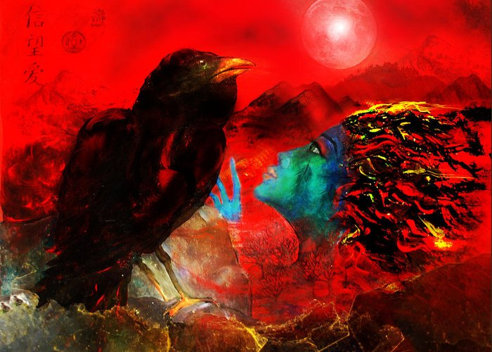 Raven Greeting Card featuring the digital art Ask The Raven II by Patricia Motley