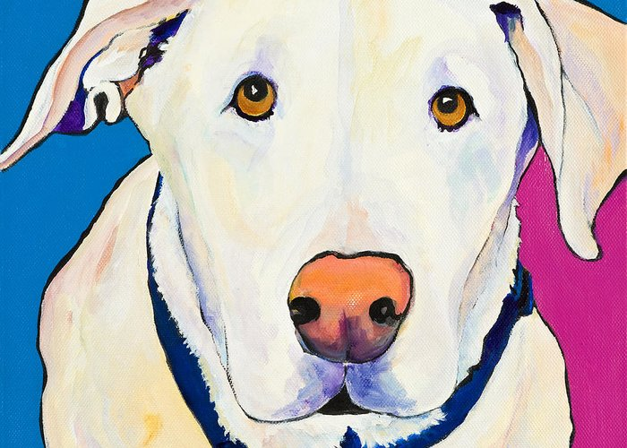 White Lab Yellow Lab Animal Paintings Golden Eyes Square Format Dogs Pets Rescued Greeting Card featuring the painting Aslinn by Pat Saunders-White
