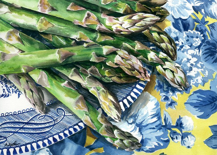 Food Greeting Card featuring the painting Asparagus by Nadi Spencer