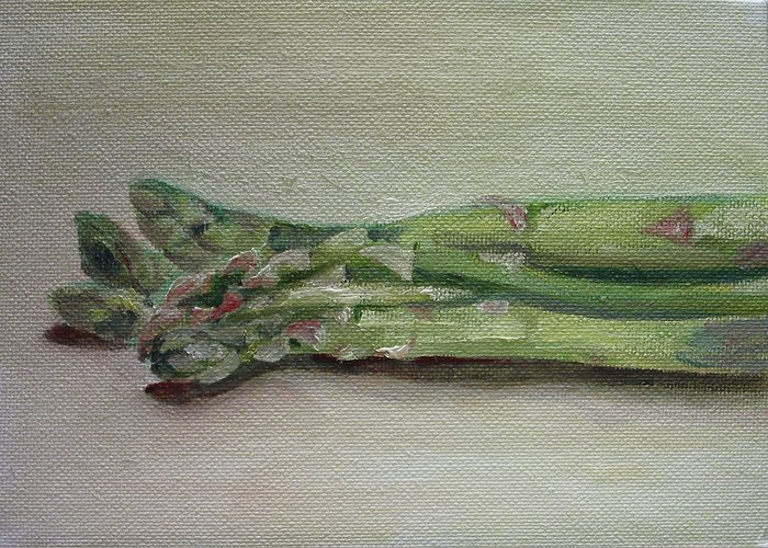 Food Greeting Card featuring the painting Asparagus by Sarah Lynch