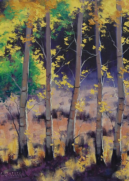 Fall Greeting Card featuring the painting Aspen Colors by Graham Gercken