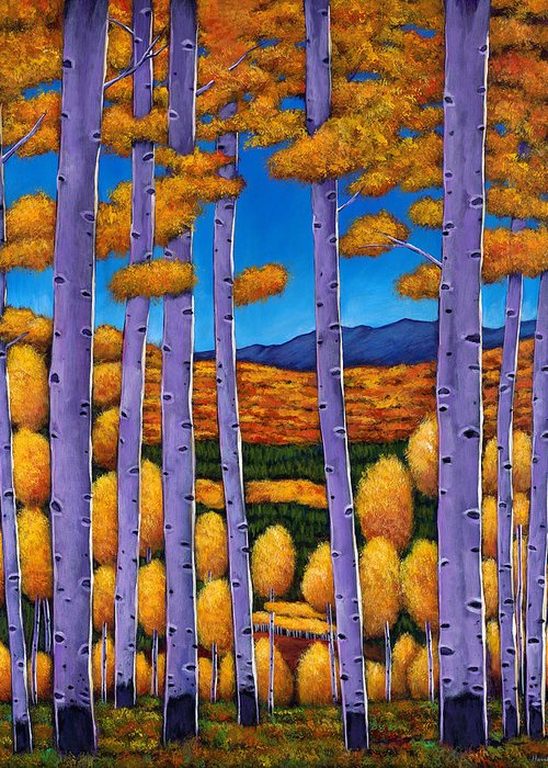Autumn Aspen Greeting Card featuring the painting Aspen Country II by Johnathan Harris