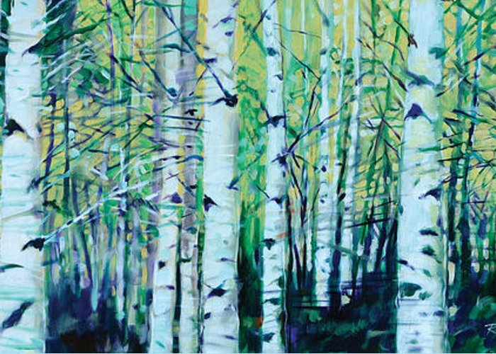 Landscape Greeting Card featuring the painting Aspen Fall by Ron Patterson