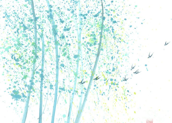 Birds Flying Through An Aspen Forest. This Is A Contemporary Chinese Ink And Color On Rice Paper Painting With Simple Zen Style Brush Strokes. Greeting Card featuring the painting Aspen Forest by Mui-Joo Wee