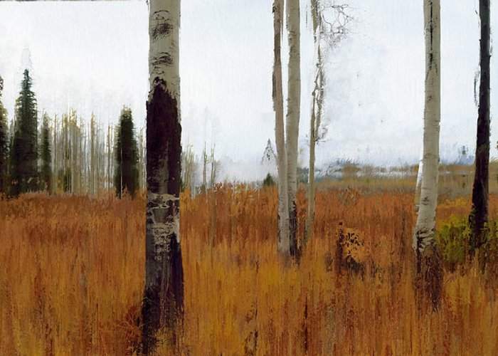Contemporary Greeting Card featuring the digital art Aspen Forest Shear II by Ronald Bolokofsky
