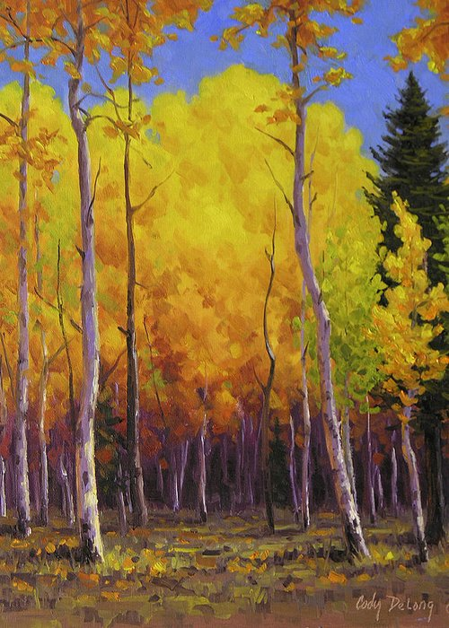Landscape Greeting Card featuring the painting Aspen Glow by Cody DeLong