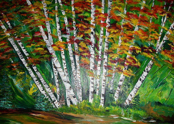 Aspens Greeting Card featuring the painting Aspen Grove In October by Terry Lash
