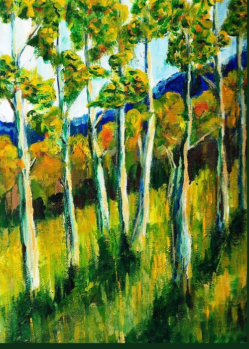 Aspen Greeting Card featuring the painting Aspen Highlands by Randy Sprout