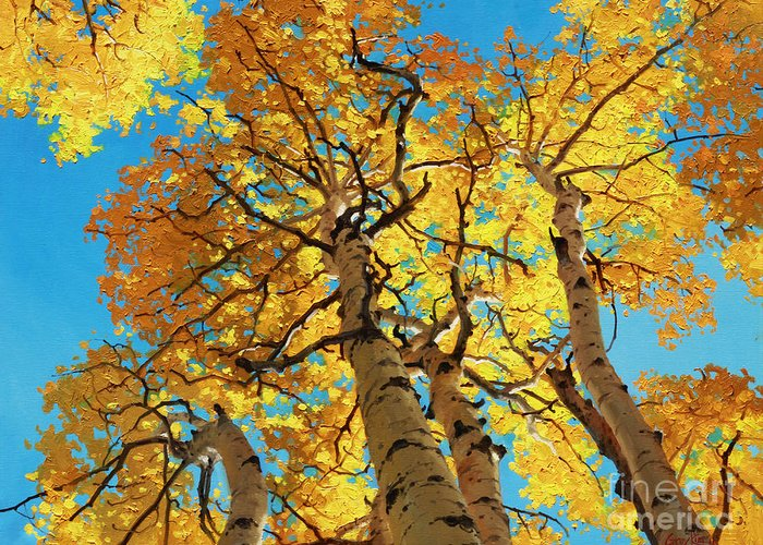 Aspen Trees Greeting Card featuring the painting Aspen Sky High 2 by Gary Kim