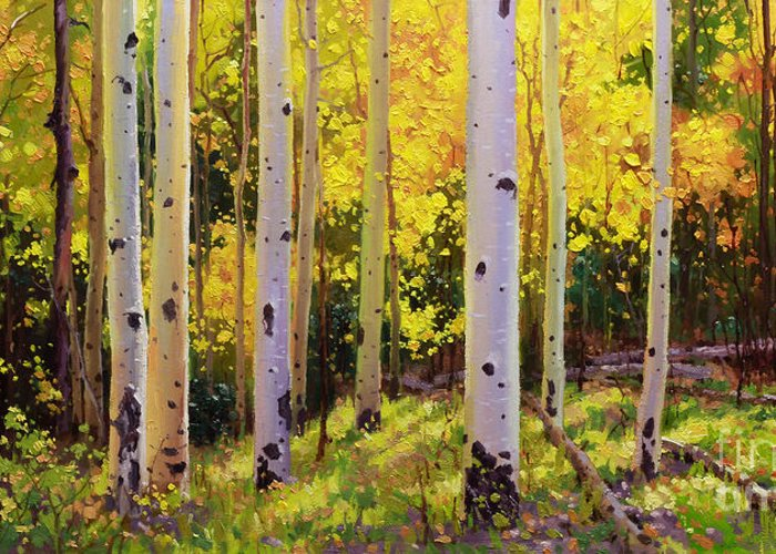 Aspen Forest Tree Greeting Card featuring the painting Aspen Symphony by Gary Kim