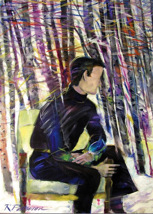 Figurative Greeting Card featuring the painting Aspen Thoughts by Ron Patterson