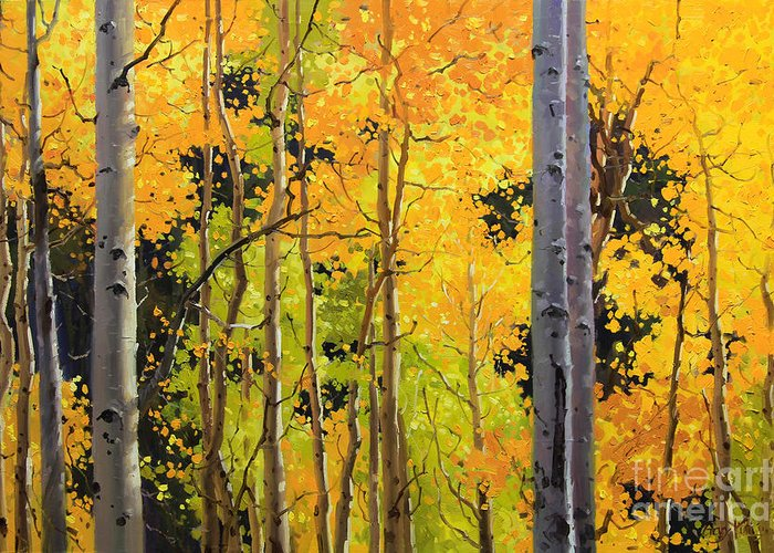 Nature Greeting Card featuring the painting Aspen Trees by Gary Kim