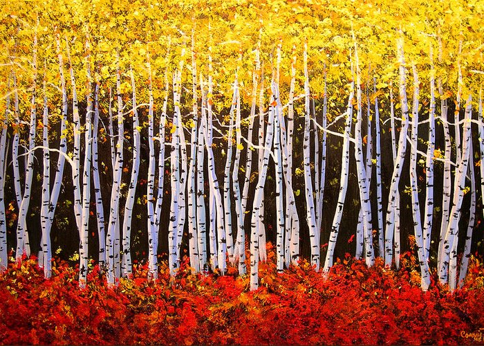 Connie Tom Greeting Card featuring the painting Aspens Aglow by Connie Tom