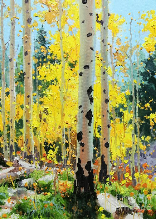 Oil Canvas Prints Contemporary Original Aspen Tree Landscape Painting Giclee Fine Art Print Paper Santa Fe Famous Architecture Magical Rocky Mountains Fine Art Prints Gary Kim New Mexico Framed Acrylic Metal Phone Cases Iphone Galaxy Greeting Cards Posters Originals Fall Aspen Panorama Aspen Grove Panorama Colors Sunset Panoramic Vistas Valley Fall Hiking Trails Colorado Forest Autumn Foliage Trunks National Forest Small Birch Trees Panorama Oil Painting Photo Sunset Fields Flowers Scene Metal Greeting Card featuring the painting Aspens in Golden Light by Gary Kim