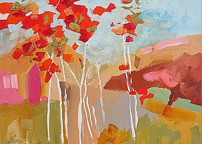 Original Greeting Card featuring the painting Aspens by Linda Monfort