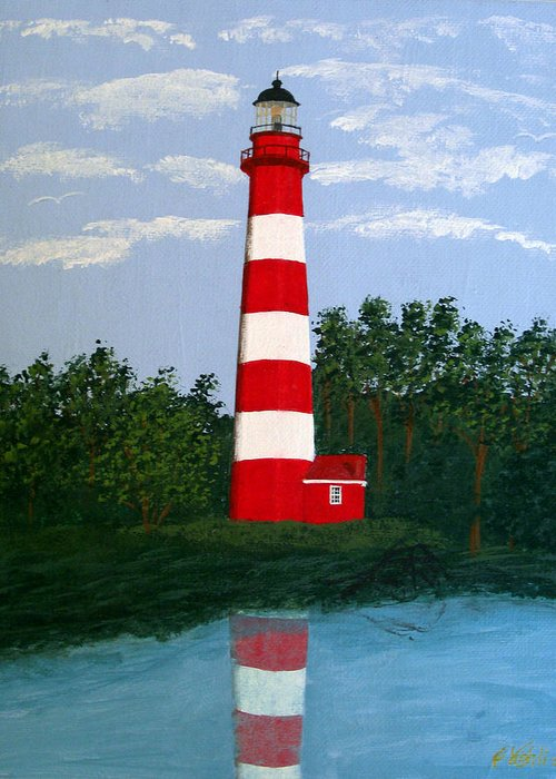 Lighthouse Paintings Greeting Card featuring the painting Assateague Island Light by Frederic Kohli