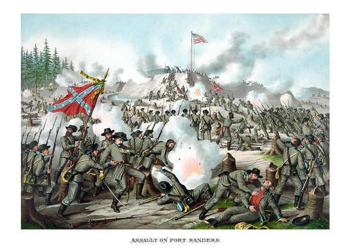Civil War Greeting Card featuring the painting Assault On Fort Sanders by War Is Hell Store