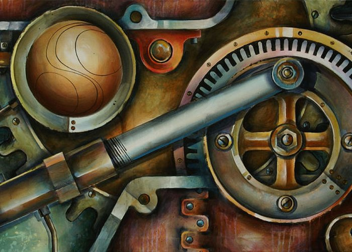 Mechanical Art Greeting Card featuring the painting 'assembled' by Michael Lang