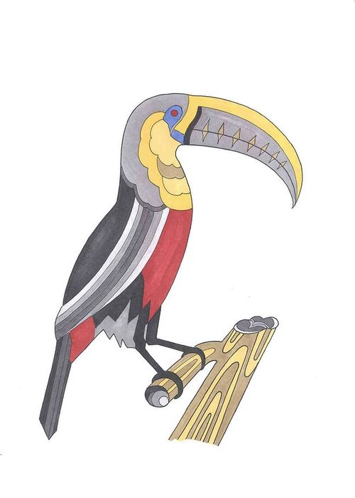 Toucan Greeting Card featuring the mixed media Assignment 13 by David Seter
