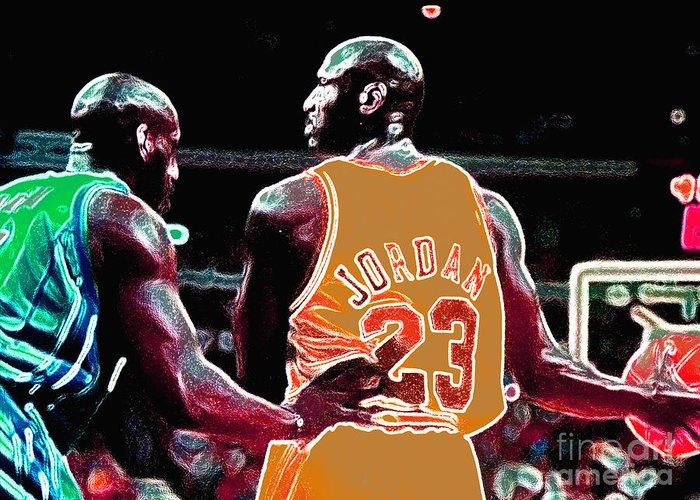 Michael Jordan Greeting Card featuring the digital art Assist by Brandon Ramquist