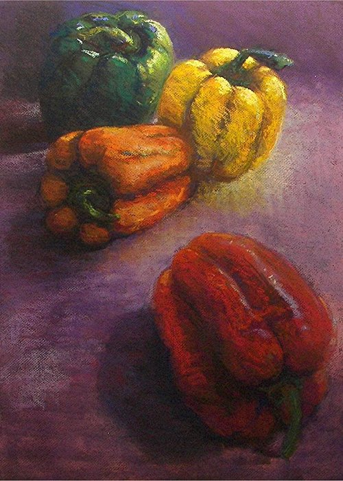 Orange Greeting Card featuring the painting Assorted Peppers by Tom Forgione