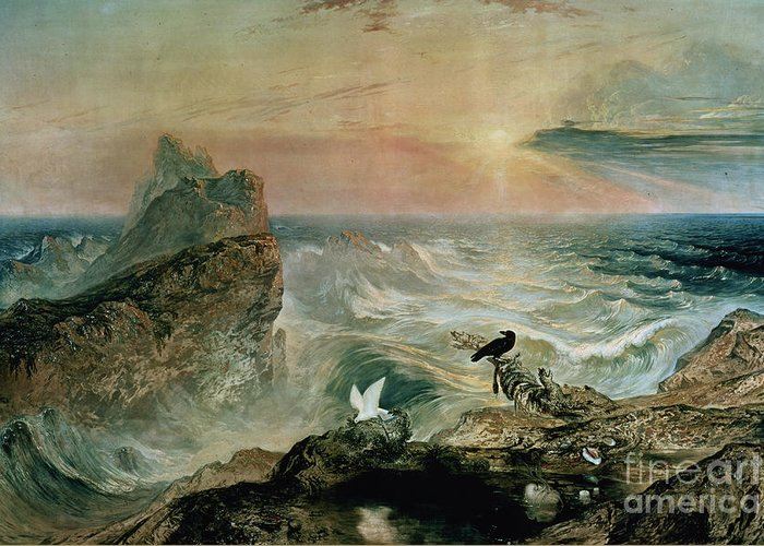 Assuaging Of The Waters By John Martin (1789-1854) Greeting Card featuring the painting Assuaging Of The Waters by John Martin