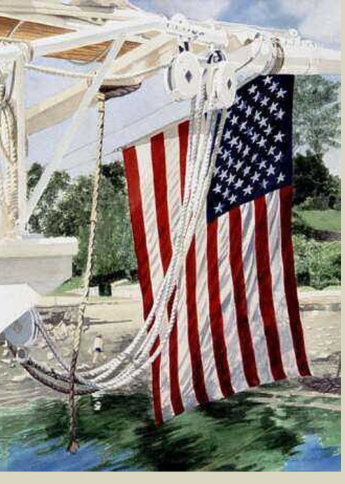 Flag Greeting Card featuring the painting Astern Mary Day by Norton Linda