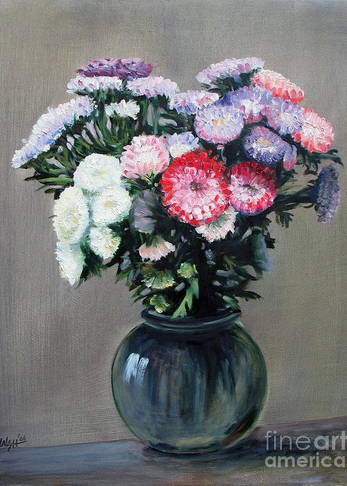Flowers Greeting Card featuring the painting Asters by Paul Walsh