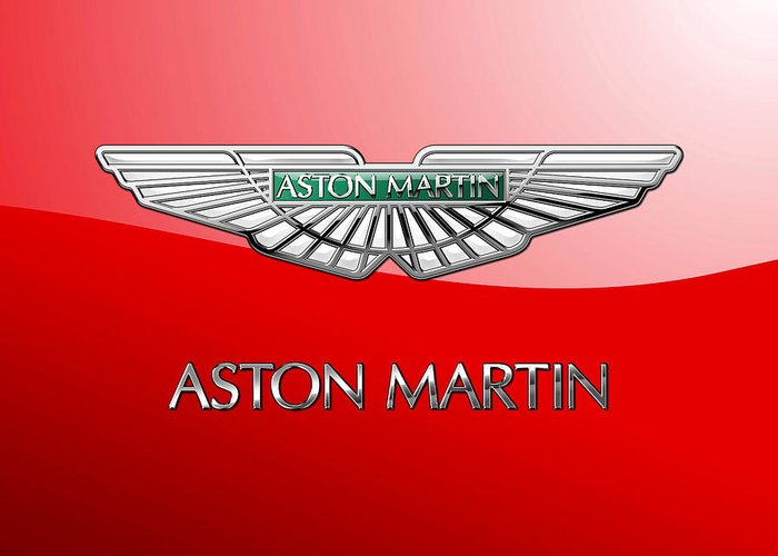 Wheels Of Fortune� Collection By Serge Averbukh Greeting Card featuring the photograph Aston Martin - 3 D Badge On Red by Serge Averbukh