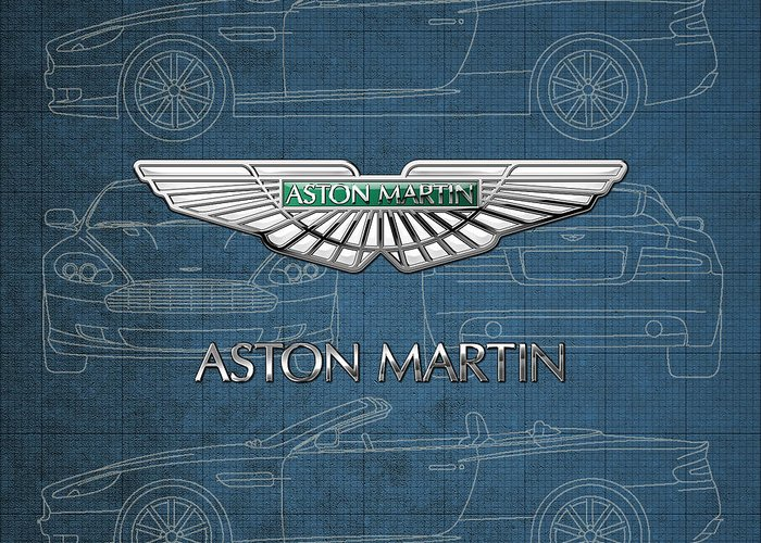 Wheels Of Fortune By Serge Averbukh Greeting Card featuring the photograph Aston Martin 3 D Badge over Aston Martin D B 9 Blueprint by Serge Averbukh