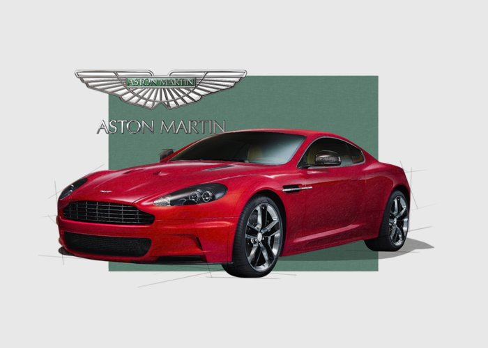 �aston Martin� By Serge Averbukh Greeting Card featuring the photograph Aston Martin D B S V 12 with 3 D Badge by Serge Averbukh