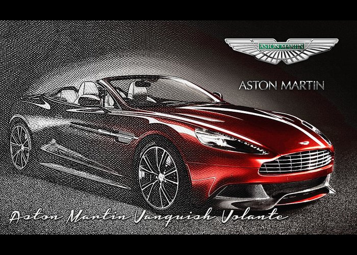 �wheels Of Fortune� Collection By Serge Averbukh Greeting Card featuring the photograph Aston Martin Vanquish Volante by Serge Averbukh