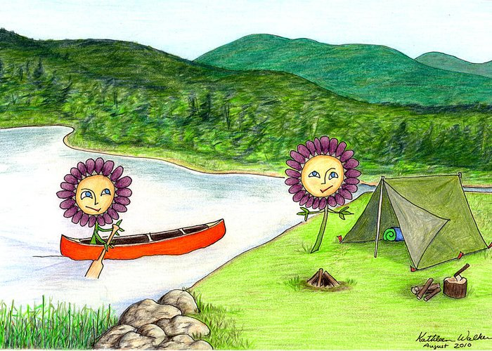 Landscape Greeting Card featuring the drawing Astors Camping by Kathleen Walker