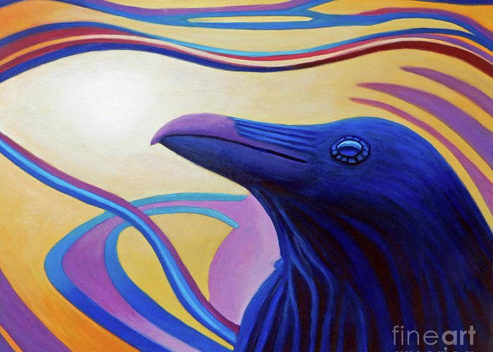 Raven Greeting Card featuring the painting Astral Raven by Brian Commerford