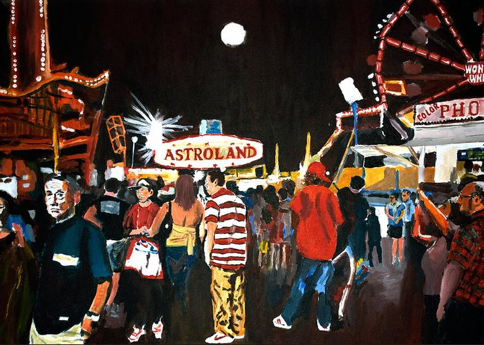 Coney Island Greeting Card featuring the painting Astroland by Wayne Pearce