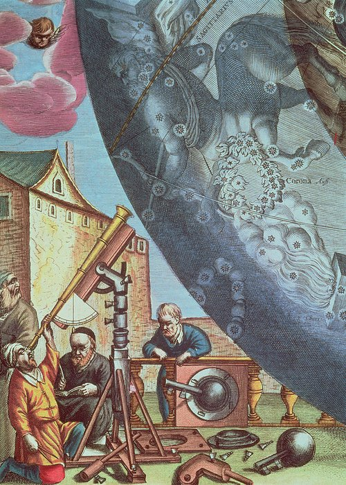 Astronomers Greeting Card featuring the painting Astronomers Looking Through A Telescope by Andreas Cellarius