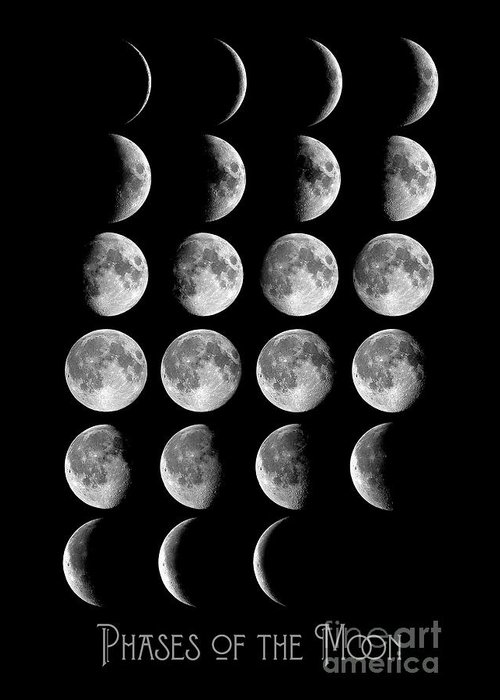 Astronomy chart phases of the moon lunar chart greeting card for